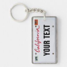 California License Plate (customizable) Keychain at Zazzle