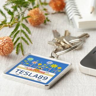 California license plate Silver-Colored square keychain