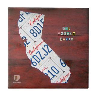 California License Plate Map Ceramic Tile