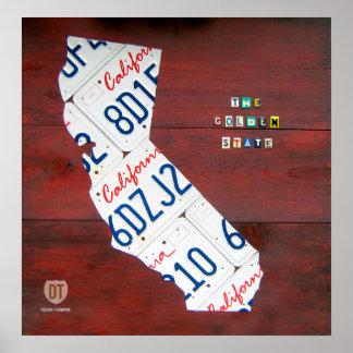 California License Plate Map Print
