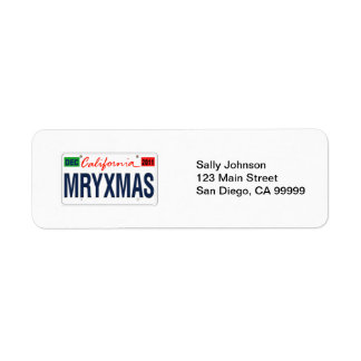 California License Plate Merry Xmas 2011 Label