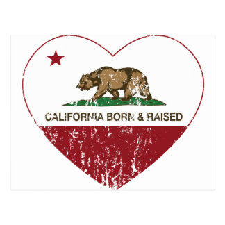 California llevada y corazón aumentado apenado postal