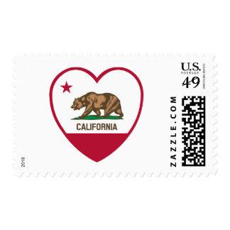 California Love - California Flag Heart Postage Stamp