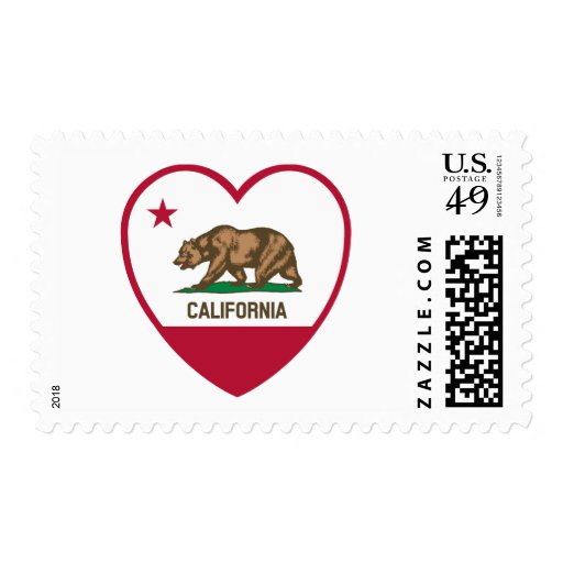 California Love - California Flag Heart Stamp