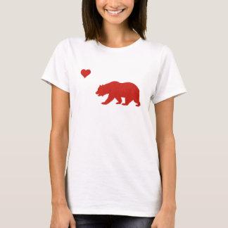 California Love Red Bear & Heart T-shirt