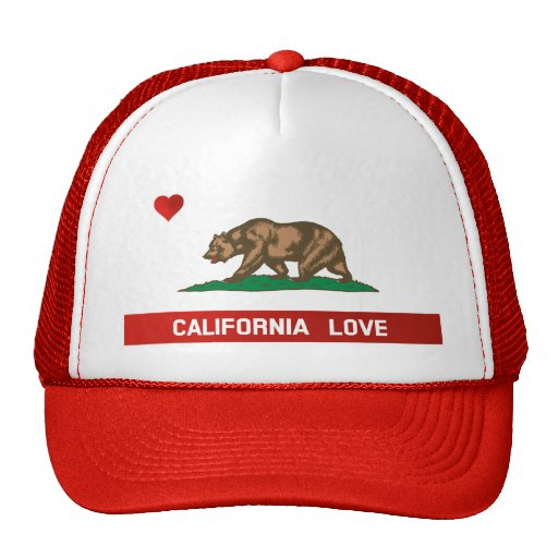 California Love State Flag Trucker Hat (red)