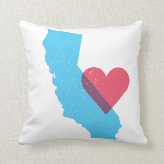 California Love State Shape with Heart Pillow