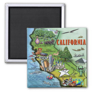 California Map 2 Inch Square Magnet