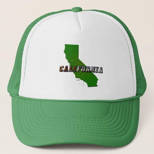 California Map and Picture Text Trucker Hat