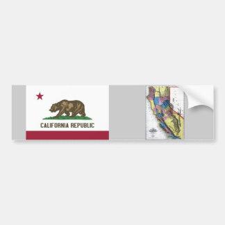 California Map and State Flag Bumper Sticker