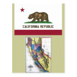 California Map and State Flag Post Card