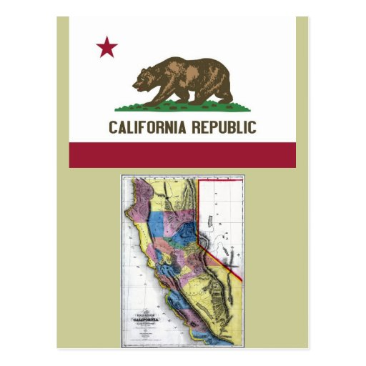 California Map and State Flag Postcard