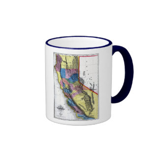 California Map and State Flag Ringer Mug
