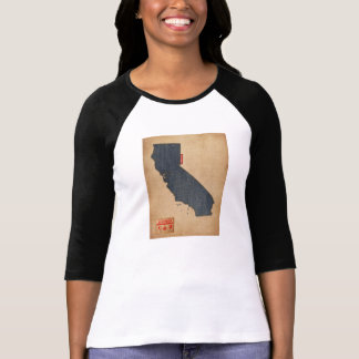 California Map Denim Jeans Style T-Shirt