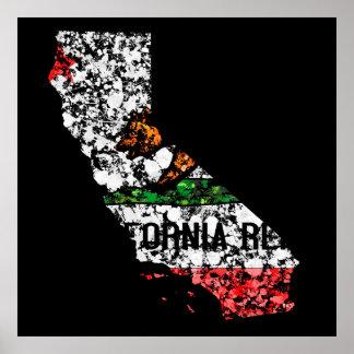 California Map Flag Bear Patriot United states Print