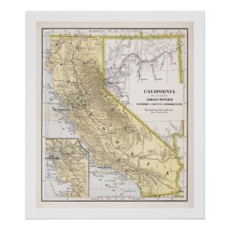 California Map from 1886 Poster