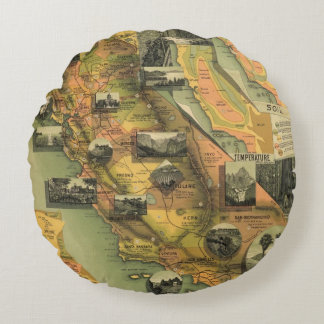 California Map Round Pillow