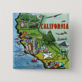 California Map Pinback Button