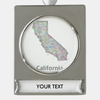 California map silver plated banner ornament