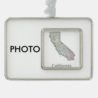 California map silver plated framed ornament