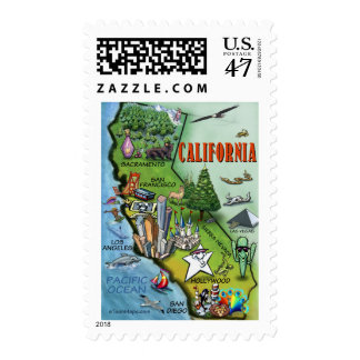 California Map Postage Stamp