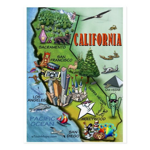 California Map Post Card