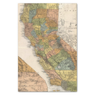 """California Map showing townships and railroads 10"""" X 15"""" Tissue Paper"""