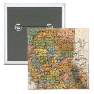 California Map showing townships and railroads 2 Inch Square Button