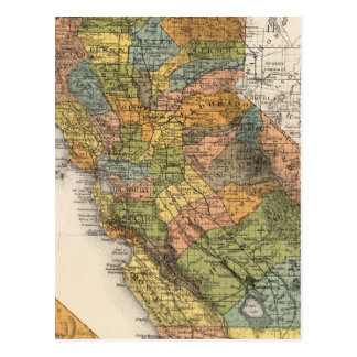 California Map showing townships and railroads Postcard