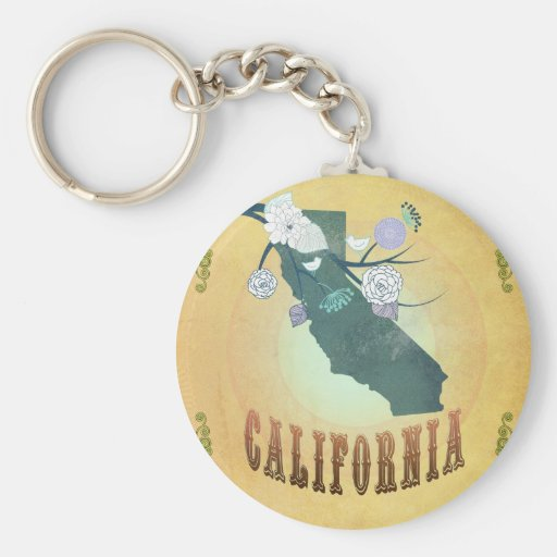 California Map With Lovely Birds Basic Round Button Keychain