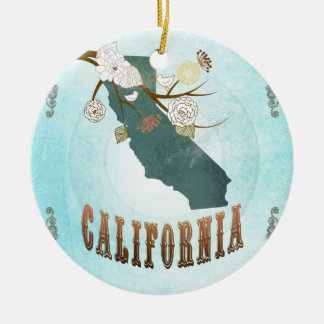 California Map With Lovely Birds Ceramic Ornament
