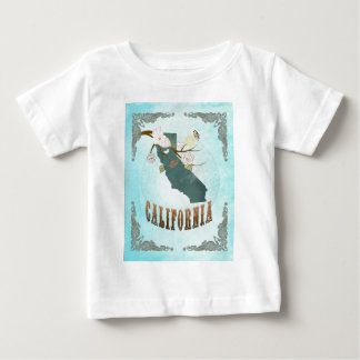 California Map With Lovely Birds T-shirt