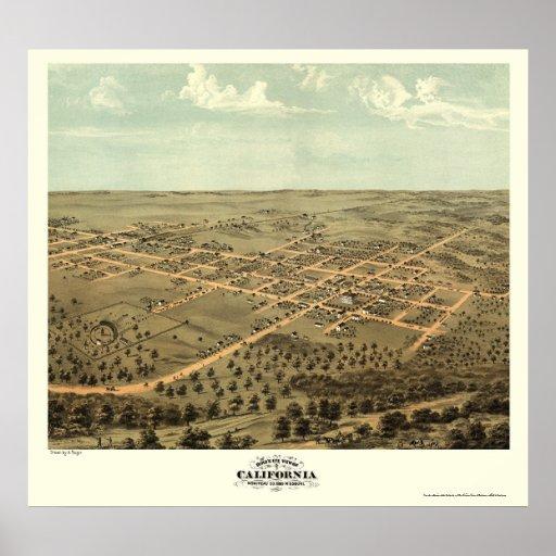 California, mapa panorámico del MES - 1869 Poster