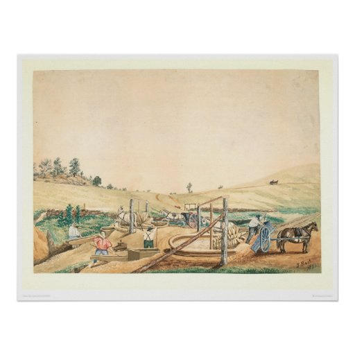 California Miners Working an Arrastra (0111A) Print