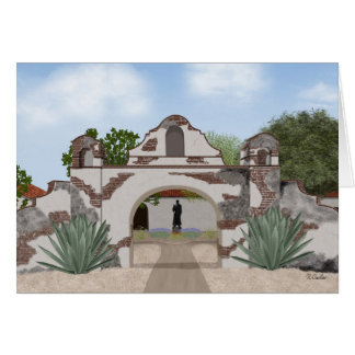 California mission greeting card, blank inside greeting card