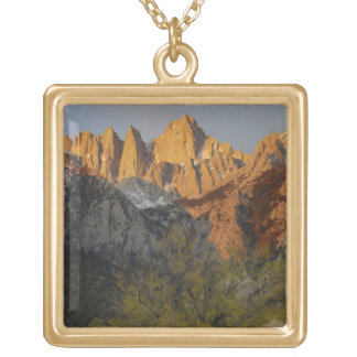 California, Mount Whitney, Inyo National Forest 3 Square Pendant Necklace