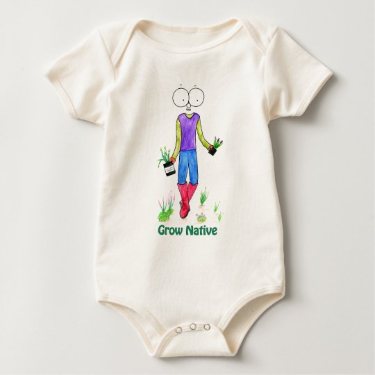 California Native Gardening Lady Baby Bodysuit