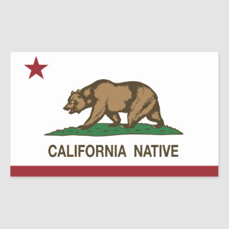 California Native Republic Flag Rectangular Sticker