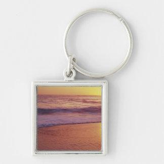 California, near Santa Cruz, View of beach at Silver-Colored Square Keychain