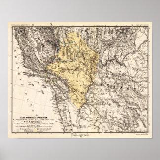 California, Nevada and Arizona Petermann, A. 1876 Poster