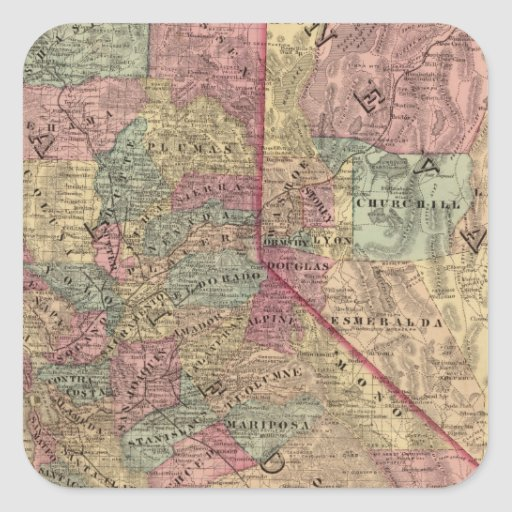 California, Nevada Pegatina Cuadrada