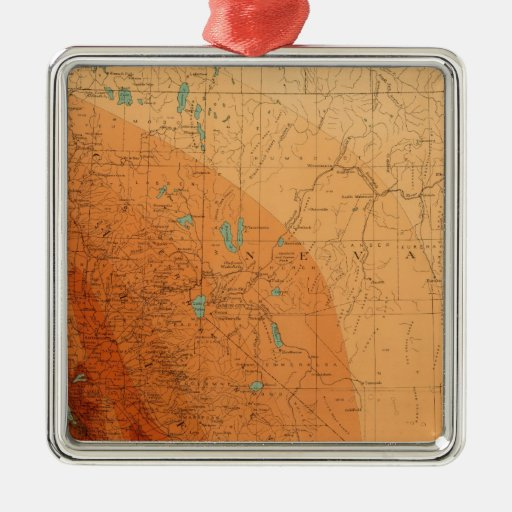 California, Nevada que muestra intensidad Adorno Navideño Cuadrado De Metal