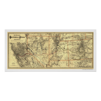 California & Nevada Rail Map 1882 Posters