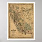 California & Nevada Railroad Map 1876 Poster