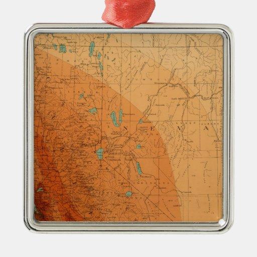 California, Nevada showing intensity Square Metal Christmas Ornament