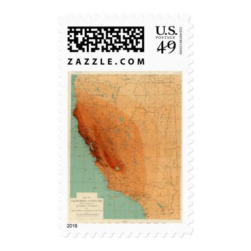 California, Nevada showing intensity Stamp