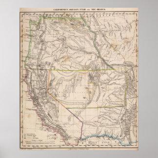 California, Oregan, Utah, New Mexico Poster