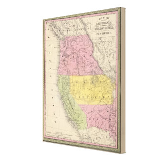 California, Oregon, Utah, and New Mexico Canvas Print