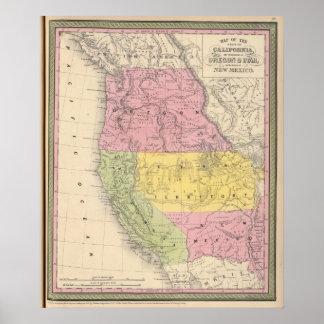 California, Oregon, Utah, and New Mexico Poster