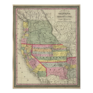 California, Oregon, Utah, New Mexico 3 Poster